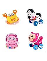4pcs/Lot Wind Up Toy Wind-Up Animal for Baby, Toddler and Kid (Crab + Dog + Octopus + Cat)