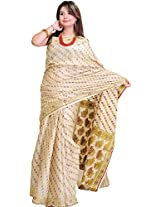 Exotic India Cloud-Cream Saree from Banaras with Woven Bootis All-Ov - Off-White