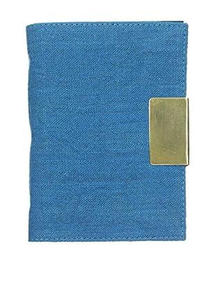 Marina Vaptzarov Linen Soft Cover Journal with Brass Sliding Closure, Blue
