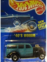40s Woodie 1995 Hot Wheels #217 Teal with Basic Wheels on Solid Blue Card