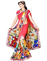 Shree Bahuchar Creation Women's Chiffon Saree(Skb22, Pink)