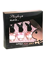 Playboy Eau De Toilette Spray Fragrance for Women 3 Piece Gift Set with LOVELY, SEXY, and SPICY