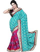 Chandra Silk Mills Sea Green Pink Jacquard Baadla Zari Wedding Party Wear Saree