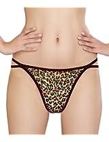 Glus Women Animal Print Love G- String , Size - Medium (Brown)