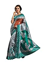 De Marca Green Raw Silk A2424 Saree