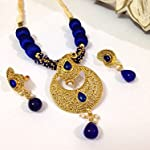 Golden Paisley pendant with ink blue silk bead necklace and earrings