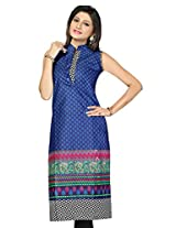 Black Kite Women's Cotton Kurti (K0320-M_Blue_Medium)