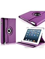 TGK 360 Degree Rotating Leather Case Cover Stand For iPad 4, iPad 3, iPad 2 - Purple