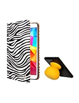 VG Zebra Print Mary Portfolio Multi Purpose Book Style Slim Flip Cover Case for Samsung Galaxy Tab4 T330/T331 8.0 (White) + Bluetooth Suction Stand Speakers