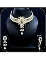 Diva Choker Golden Sparkling Stone Bollywood Party Necklace Earrings Set For Women