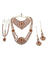 Gorgeous Bollywood Design Red Crystal Made Full Bridal Necklace Indian Wedding Jewelry