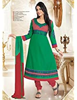 Cotton Embroidered Green Unstitched Anarkali Suit - BBD2001