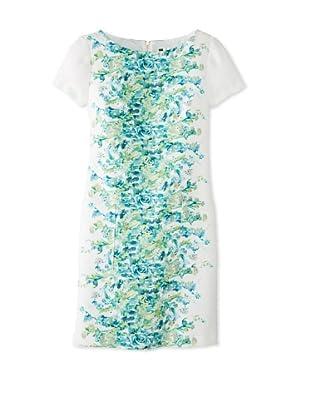 Julian Taylor Women's Floral Printed Hopsack Dress (Ivory/Lime)