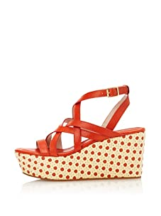 Rosegold Women's Addy Cane Wedge Sandal (Orange)