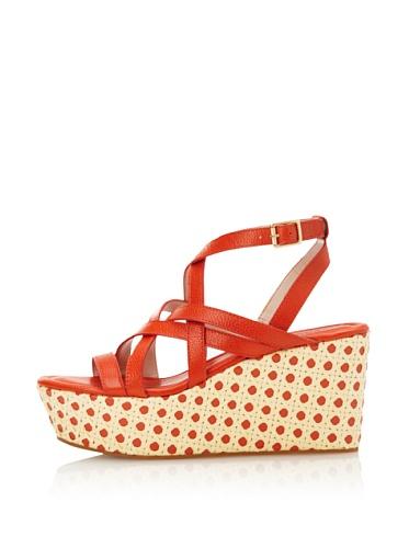 Rosegold Women's Addy Cane Wedge Sandal (Orange)