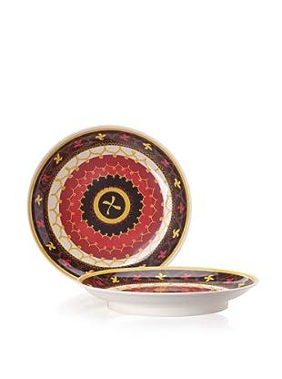 "Bongenre Set of 2 Tatiana Susani 16"" Platters (Red/Yellow/Black)"
