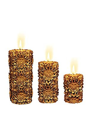 Volcanica Set of 3 Dendritic Pillar Candles