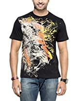 Zovi Cotton Furious Black Graphic T-shirt(S143RNM16002_Small)