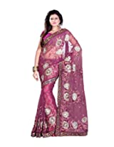 Sangam Magenta net Saree With Heavy Work