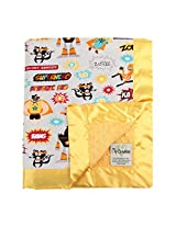 "My Blankee Superheroes Adventure Minky Light Grey w/ Minky Dot Mango Baby Blanket, 30"" x 35"""