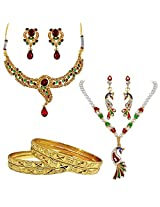Surat Diamonds Traditional Design & Peacock Shaped Fashion Jewellery Set with 4 Gold Plated Bangles for Women (H1388)
