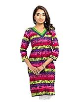 Almas Women's Cotton Regular Fit Kurti (ALM-KUR-100126_S, Multicolor, Small)