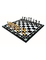 "StonKraft 15""x15"" Collectible Marble Pietra Dura Chess Board Game Set Brass Crafted Pieces"