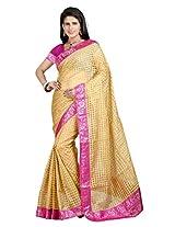 Vibes Women's Bhagalpuri Art Silk Saree,With Blouse (S54-VBK161_Golden)