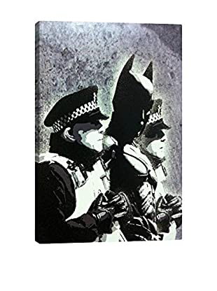 Banksy Batman And The Police Gallery Wrapped Canvas Print
