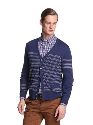 Façonnable Men's Mixed Stripe Cardigan (Navy)