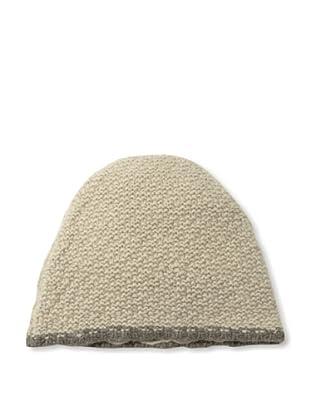 Sofia Cashmere Men's Seed Stitch Skull Cap (Oatmeal/Brown)