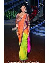 Shilpa Shetty Indian Bollywood Designer Party Wear Ethnic Women Saree, Sari - Neon