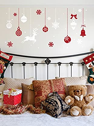 Ambience Live Vinilo Decorativo Red and Christmas snowflakes Multicolor