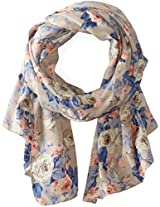 D&Y Women's Washed Out Rose Print Oblong Scarf
