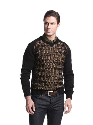 Just Cavalli Men's Textured Knit Sweater (Black/brown)