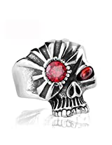 CIlver Fashion Evil exaggerated punk red eyed Skull Ring (10.0)