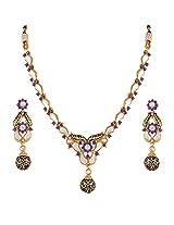 Variation Blue Kundan Party Wear Necklace Set With Mangtika For Women