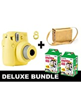 Fujifilm Instax Mini 8 - Yellow + 40 Pack Instax Film + Yellow Gm Bag + Yellow Selfie Mirror
