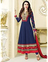 Beautiful Blue Semi-Stitched Anarkali Suit 30009