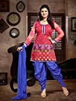 Ayesha Takia Pink Banarsi Jacquard Top With Cottton Bottom & Chiffon Dupatta Printed Work & Embroidery Unstitched Punjabi Patiala Salwar Kameez Suit