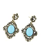 Cinderella Collection by Shining Diva Silver & Blue Coloured Bead Hanging Earrings for Women 6913er