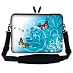 Meffort Inc 15 15.6 inch Laptop Sleeve Bag Carrying Case with Hidden Handle and Adjustable Shoulder Strap - Teal Swirl Butterfly Design