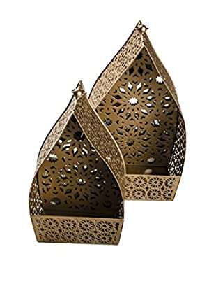 Set of 2 Namaskar Mirror Lanterns, Gold