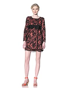 Moschino Cheap and Chic Women's Lace Coat with Bow Belt (Black Lace)