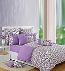 Swayam White N Purple Floral Printed Comforter