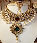 Maroon-green stone choker set with kundan and pearls
