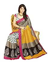 Bhavi Embellished Printed Mysore Silk Saree (Offer-Buy 1 Get 1 Free)