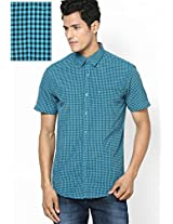 Aqua Blue Checks Casual Shirts John Players