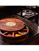 Sheesham Wood Spice Box With Floral Work - Masala Container / Spice Rack / Spice Holder