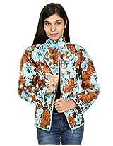Rajrang Womens Cotton Jacket -Blue, White -Medium